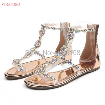 Women Transparent <font><b>Sandals</b></font> Comfort Women Shoes Rhinestones <font><b>Flat</b></font> <font><b>Sandals</b></font> Crystal Sandalias Ladies Shoes Woman Sandalie Female Shoe image