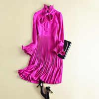 Najnowszy 2020 projektant wybieg mody sukienka damska Flare rękawem łuk kołnierz Midi sukienka plisowana moda Dropshipping