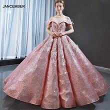 J66936 Jancember pembe Quinceanera elbise 2020 sevgiliye kapalı omuz tüy aplike pullu balo elbisesi Vestidos Quinceañero