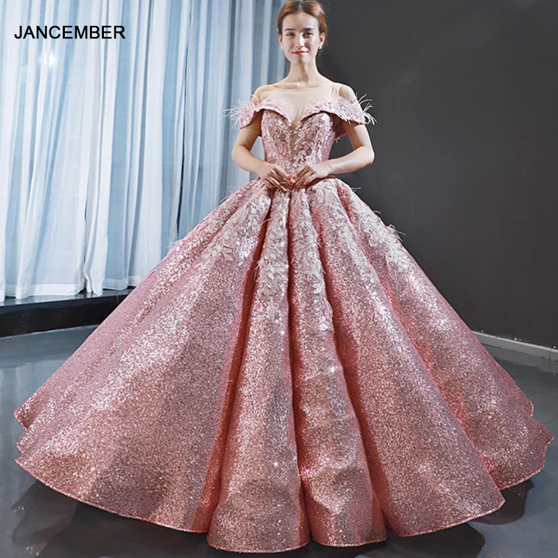 J66936 Jancember Pink Quinceanera Dresses 15 Sweetheart Off The Shoulder Ball Gown Puffy Prom Dress Vestido De Quinceañera 2019