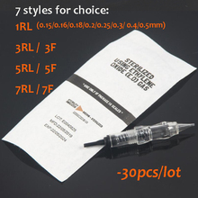 30pcs Tattoo Easy Click Screw Cartridges Needles Microblading for Permanent Makeup Machine,  1RL/3RL/3F/5RL/5F/7RL/7F