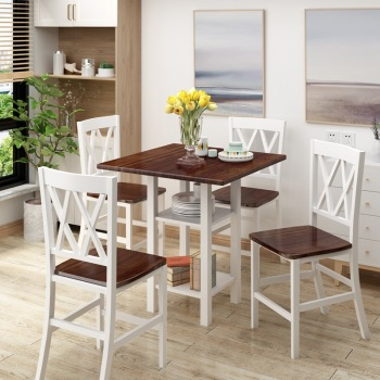5 Piece Dining Set With Double Shelf And Matching Chairs For Family Use, Dining Room Furniture Set 1
