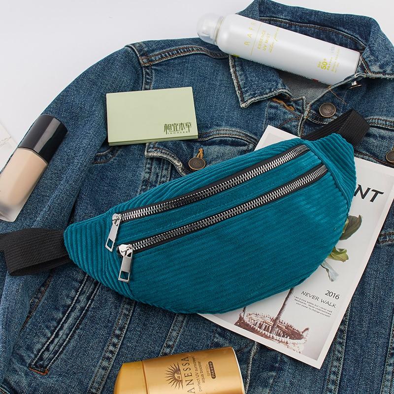 Waist Belt Bag For Women Ladies Designer Canvas Chext Pack New Fashion Money Chest Bags Bum Belt Bags Women Corduroy Waist Pack