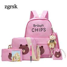 8 Pcs/set School Bags For Kids Bag Women Backpack Lovely Brown Bear Tassel School Bag Boys Letter Children Backpacks Boys цена