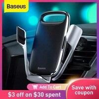 Baseus-Soporte de teléfono para coche, cargador inalámbrico de 15W, carga rápida 3,0, soporte de carga inalámbrica