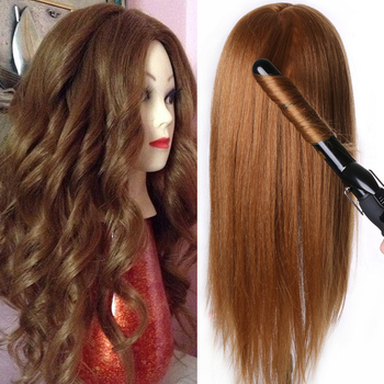 80 % Real Human Hair Mannequin Dolls Training head dolls for hairdressers blonde color professional styling head can be curled 100% real human hair head dolls for hairdressers 16 brown training head professional mannequin with small clamp can be curled