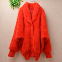 Laides women korean christmas red loose oversized mink cashmere long batwing sleeves cardigans angora fur jacket winter coat