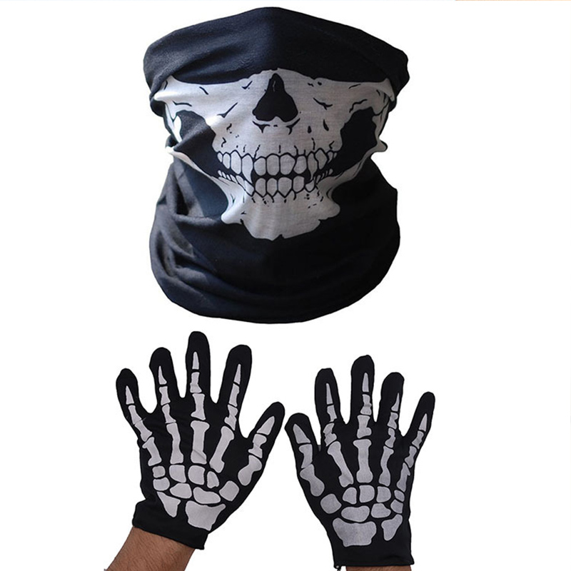 Scary Festival Skull Halloween Breathable Face Masks Lower Half Mask Skeleton Scarf Glove Set Polyester Funny Cosplay Costume