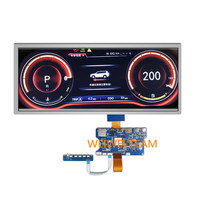 Wisecoco 12.3 inch dashboard Instrument Cluster LCD panel 1920X720 IPS TFT display Stretched BAR HDMI LVDS Type c Control Board
