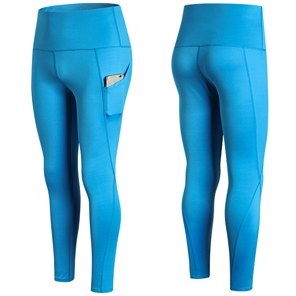 Woman High Waist Yoga Pants Quick-dry Sports Pants Yoga Leggings Workout Pants with Pocket Light Blue XXL Running pants 5