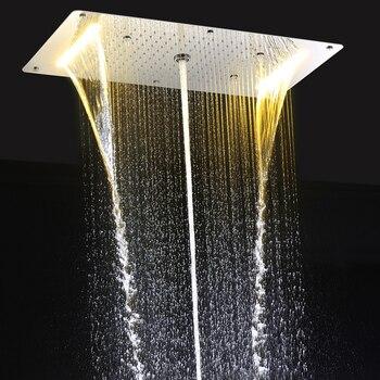 modern led ceiling shower head embedded massage rainfall waterfall shower faucet bathroom accessories big shower panel 700 380mm Modern LED Ceiling Shower Head Embedded Massage Rainfall Waterfall Shower Faucet Bathroom Accessories Big Shower Panel 700*380mm
