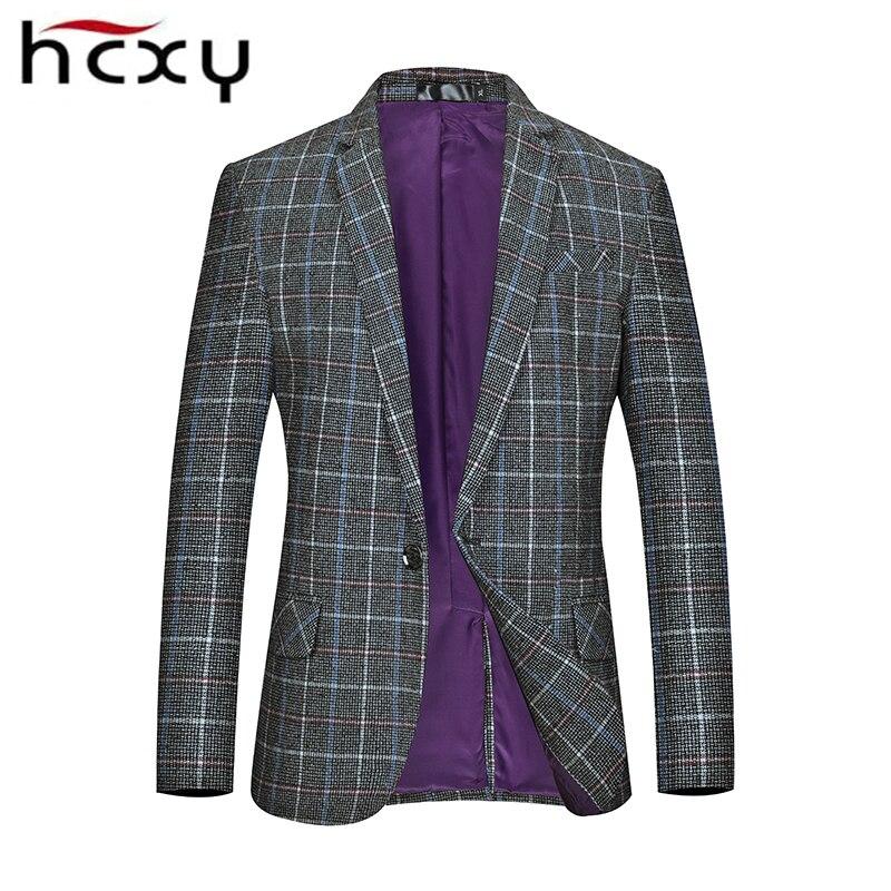HCXY Brand Plus Size Suit Jacket For Men Fashion Autumn Men's Blazer Jacket Casual Plaid Blazer Male Lattice Suit Coat