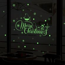 цена New Year 2020 Merry Christmas Decorations for Home Luminous Snowflake Background Decorative Sticker Removable Navidad Natal в интернет-магазинах