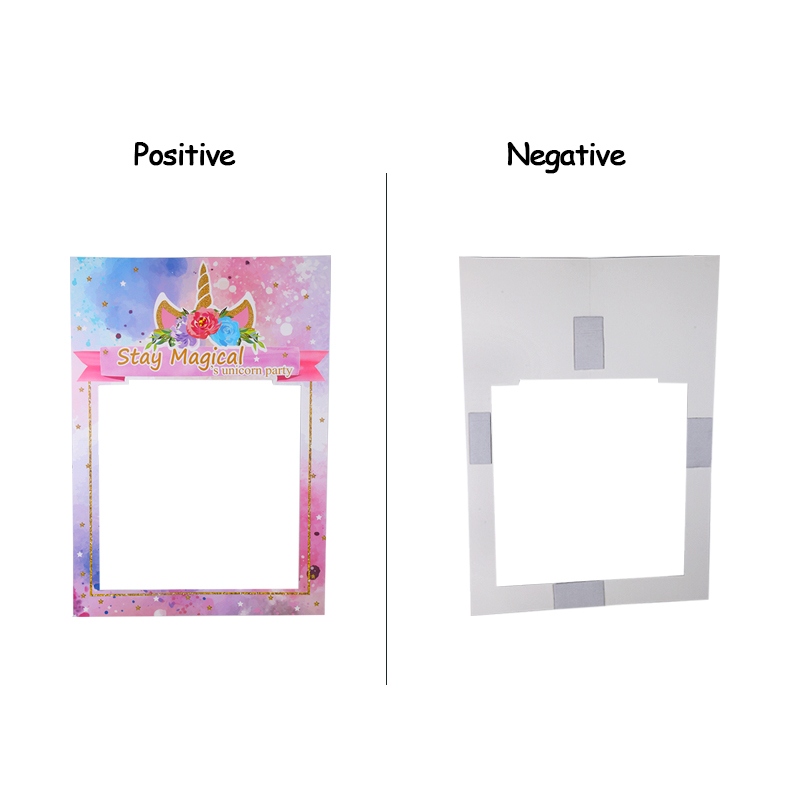 1pcs Unicorn Photo Booth Frame Happy Birthday Party Decorations Kids Photobooth Party Favors Supplies Unicorn Party Photo Booth