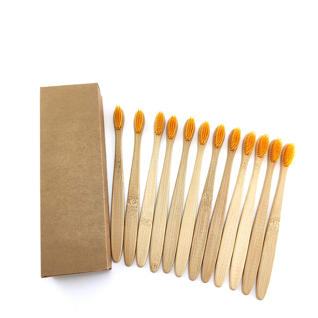 12 pcs/Pack Natural Pure Bamboo Toothbrush table Soft Hair Tooth Brush Eco Friendly Brushes Oral Cleaning Care Tools 5