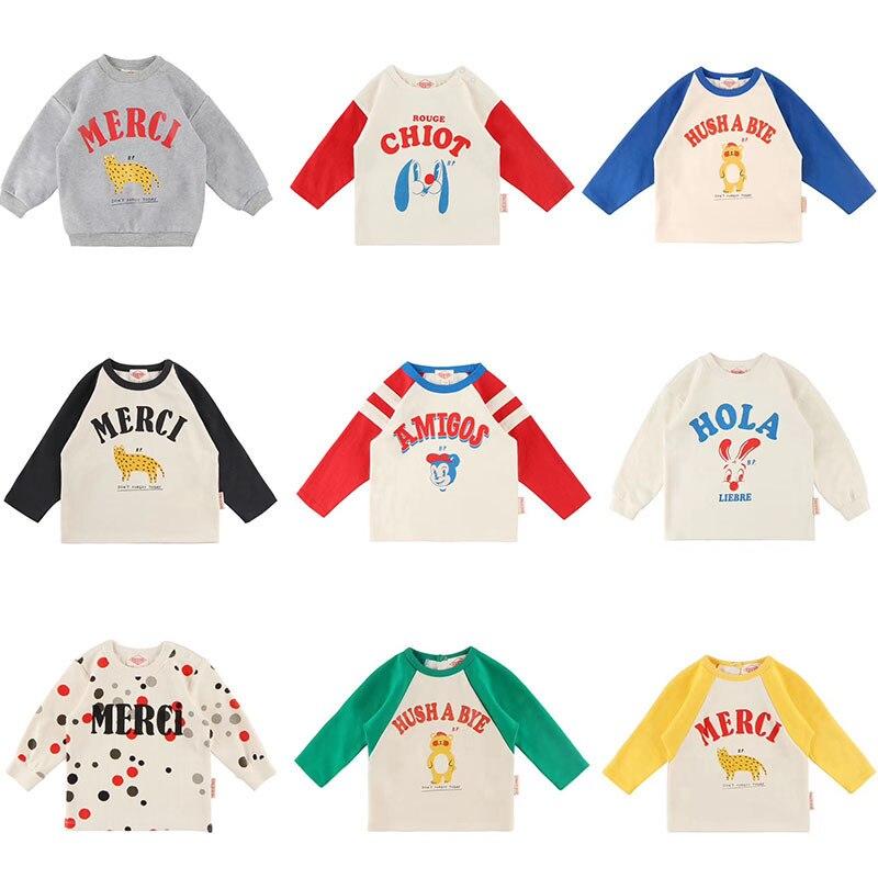 Tops Tshirt Toddler Korean Ng-Sleeve Fall Print Baby-Boys-Girls Cartoon Lovely Letter