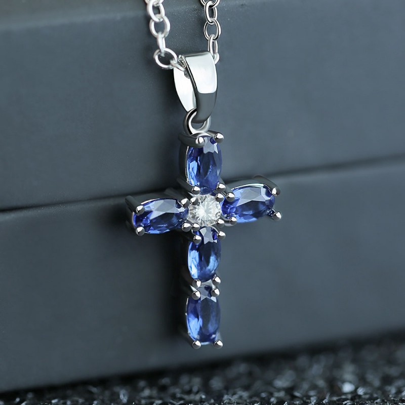 Купить с кэшбэком Mysterious Cross Pendant Necklace For Women Men Oval Blue Crystal Zircon Necklace Silver Color Female Choker Jewelry Bijoux Gift