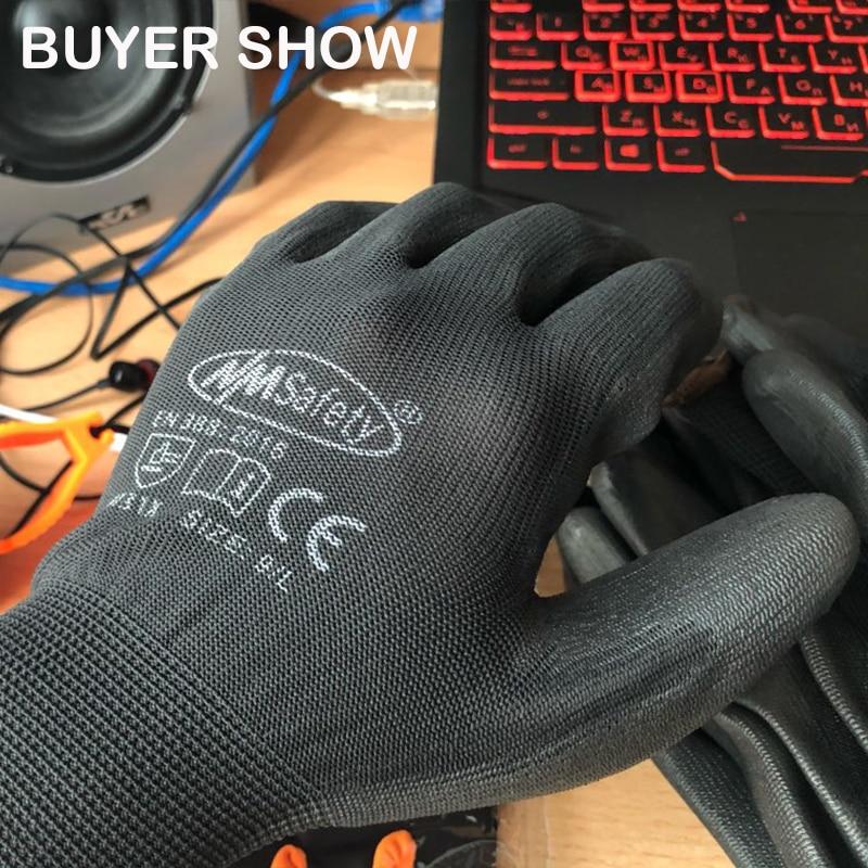 24 pièces/12 paires gant de travail de protection industriel en Nitrile noir avec des gants de paume enduits tricotés en coton de Nylon