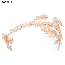 Baroque Crowns Gold Leaf Headband Hair Jewelry Wedding Tiara Bridal Headpiece Women Lady Personality Decoration Gift