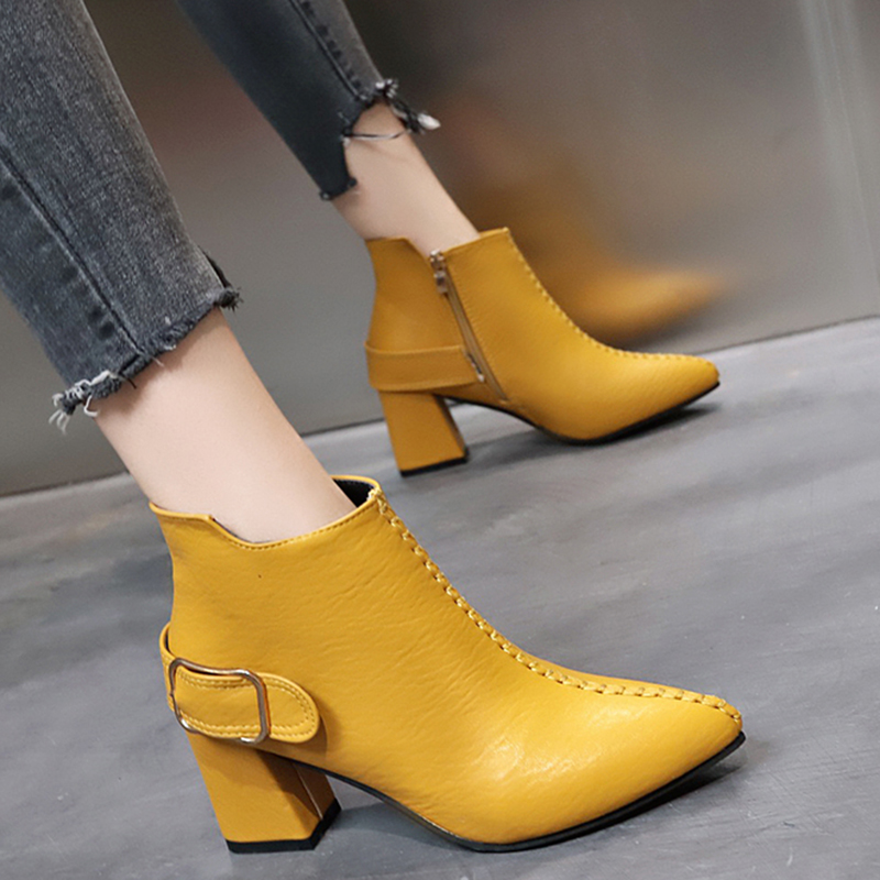 Rimocy Yellow Leather Ankle Boots for Women Fashion Buckle Pointed Toe Zapatos De Mujer Waterproof Square Heels Shoes Woman image