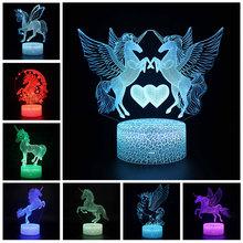 Jednorożec Pegasus figurka seria akrylowe 3D Illusion LED lampa 16 kolorów pilot lampy stołowe zabawki dla dzieci prezent na boże narodzenie tanie tanio Disney Model CN (pochodzenie) Unisex no fire 87*87*43mm Pierwsze wydanie 8-11 lat 12-15 lat Dorośli 14 lat 8 lat 6 lat