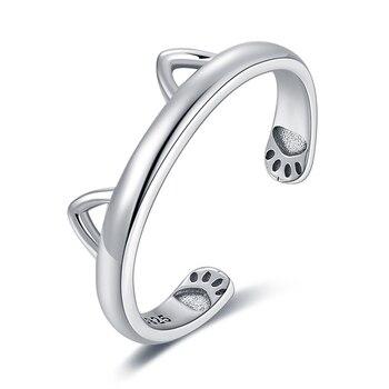 Bijoux palace belle oreille de chat réglable anneau ouvert 925 en argent Sterling anneaux pour les femmes bijoux faisant des cadeaux de bijoux de mode