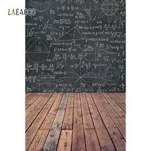 Laeacco バック学校に photophone 幾何学模様の木製床の写真撮影の背景写真背景学生 photozone 小道具