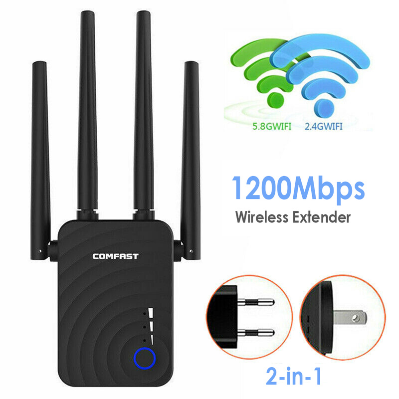 1200Mbps Wireless Extender Wifi Repeater/Router Dual Band 2.4&5.8Ghz Dual Band Repeater Signal Booster With 4 Ethernet Antennas