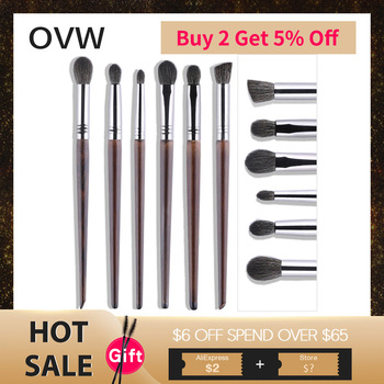 OVW Cosmetic 6 pcs Ultra Soft 100% Goat Hair Makeup Eye Shadow Brush Set Tools Tapered Blending Diffuse Kit Shader Cut Crease