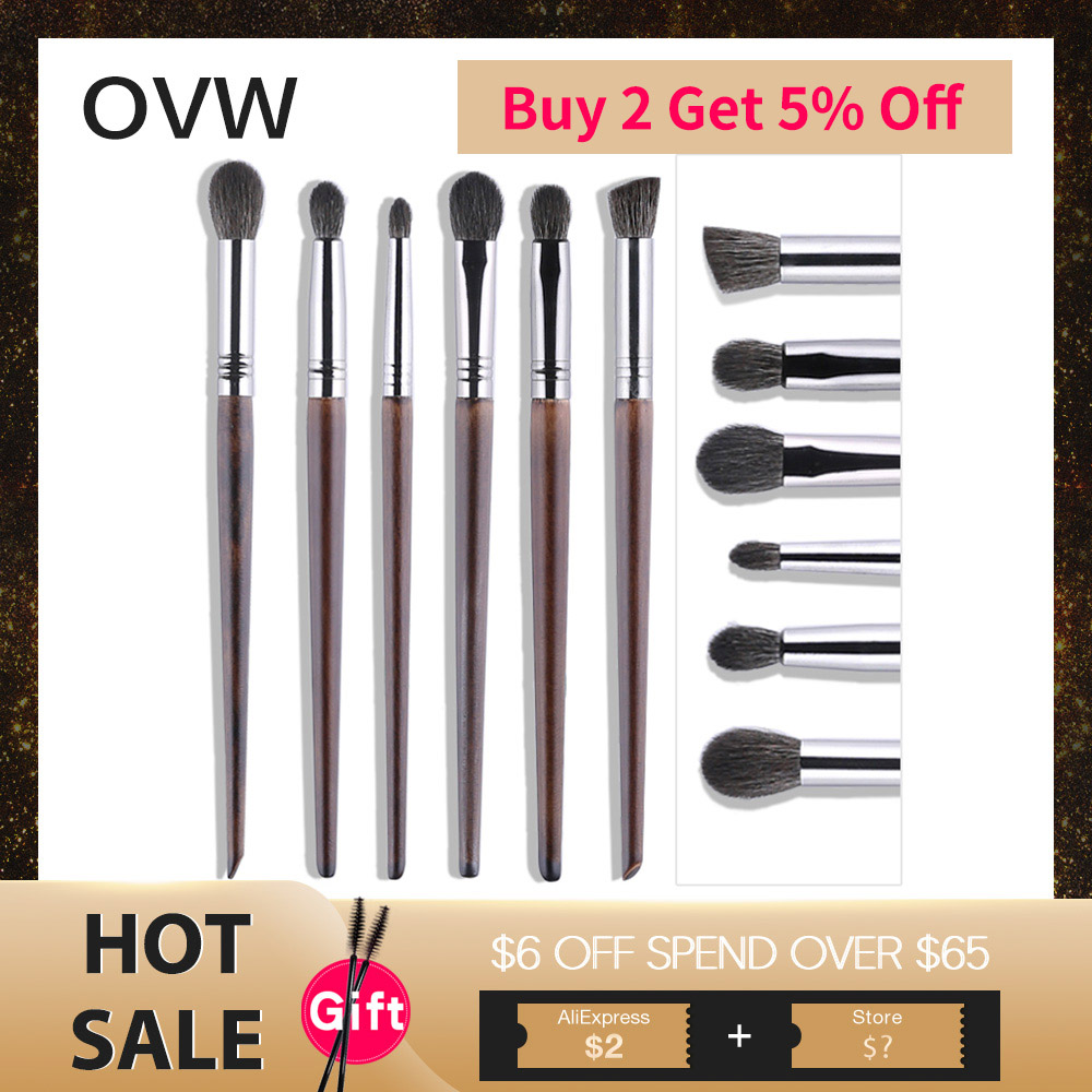 OVW Cosmetic 6 pcs Ultra Soft Goat Hair Makeup Eye Shadow Brush Set Tool trucchi pennelli Tapered Blender Diffuse Kit Cut Crease