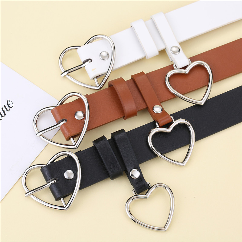 New Heart Buckle Belt For Women Ladies Luxury Brand Cute Heart-shaped Black White Thin Belt High Quality Punk Fashion Belts