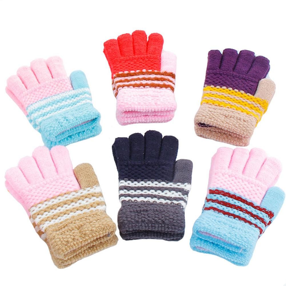 MISSKY Kids Girls Boys Gloves Autumn Winter Candy Color Warm Thicken Full Finger Magic Knitted Gloves