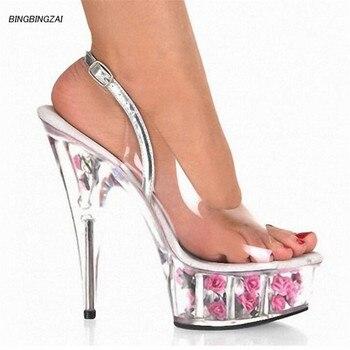 BBZAI New pattern Superior quality Super high heel ladies shoes 15CM Sexy transparent Nightclub Thin Heels Sandals 34-45 46