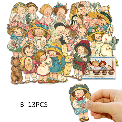 15PCS Vitage Cute Doll Stickers Crafts And Scrapbooking Stickers Kids Toys Book Decorative Sticker DIY Stationery