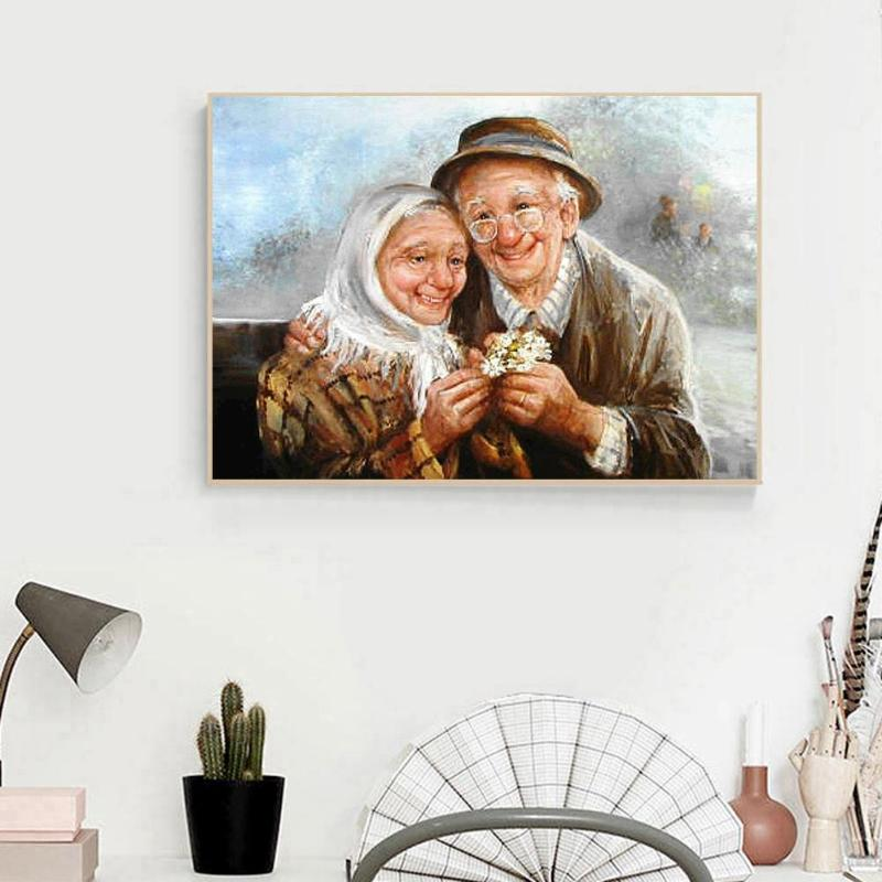 5D DIY Full Drill Diamond Painting Older Couples Cross Stitch Mosaic Home Decor