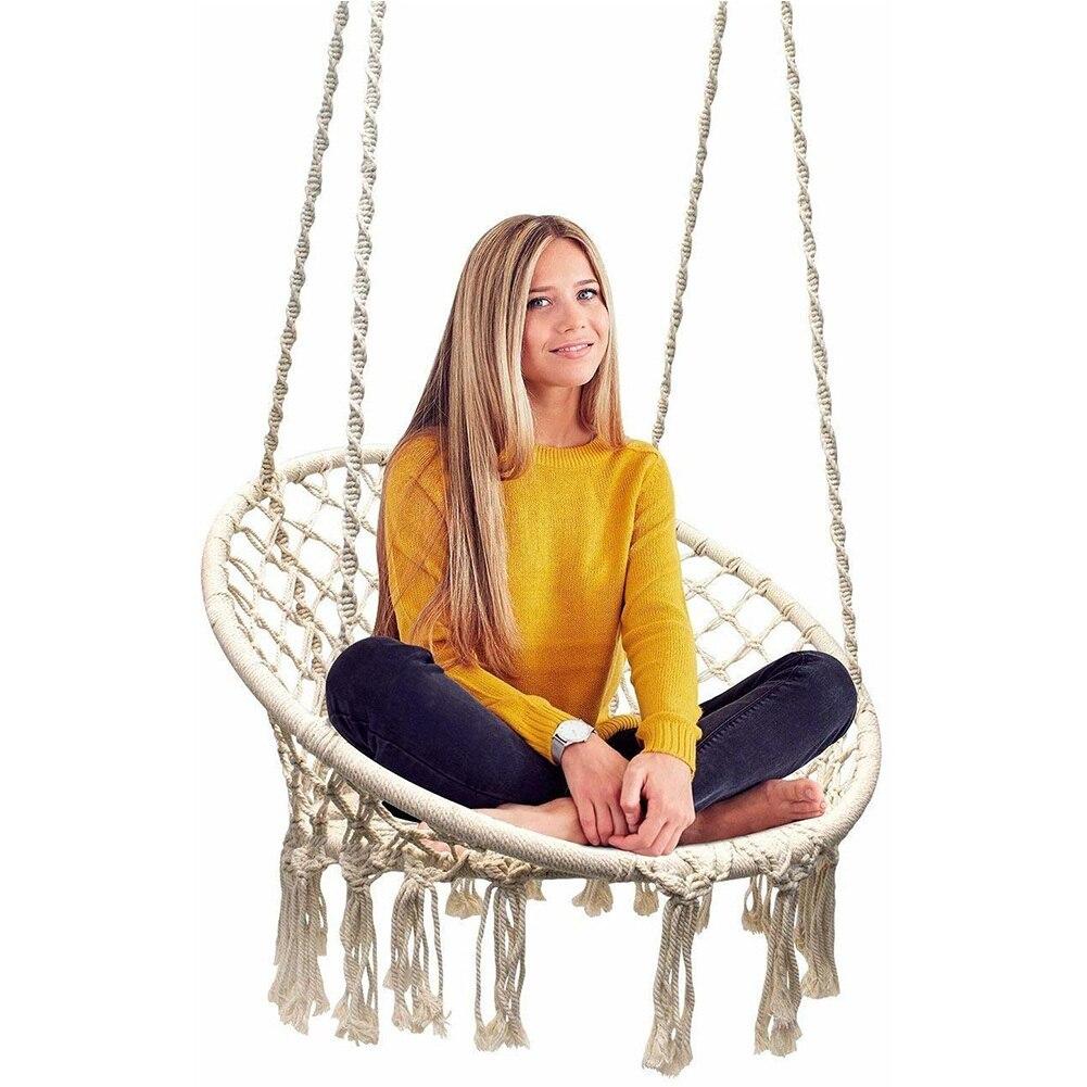 Hanging Outdoor Hammock Chair Macrame Swing 265 Pound Capacity Perfect for Indoor Outdoor Home Garden Hanging Chair 1