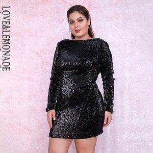 Image 4 - אהבה & לימונדה בתוספת גודל שחור עגול צוואר Bodycon לפתוח בחזרה אלסטי פאייטים המפלגה מיני שמלת LM80669PLUS