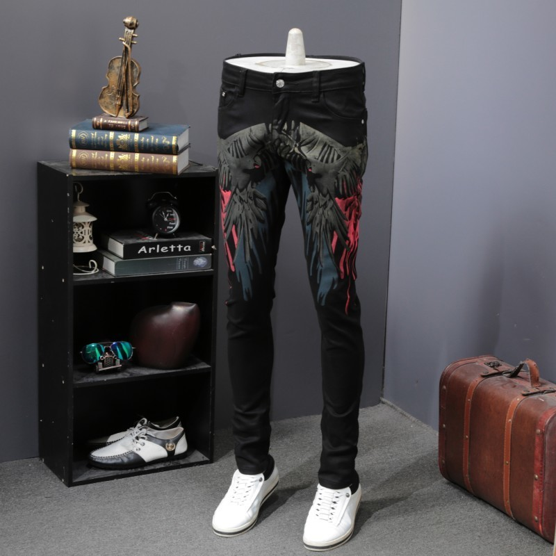 Harajuku Wings Printed Mens Stretchy Slim Fit Jeans Pants Black Straight Pencil Pants Casual Spring Autumn Male Denim Trousers