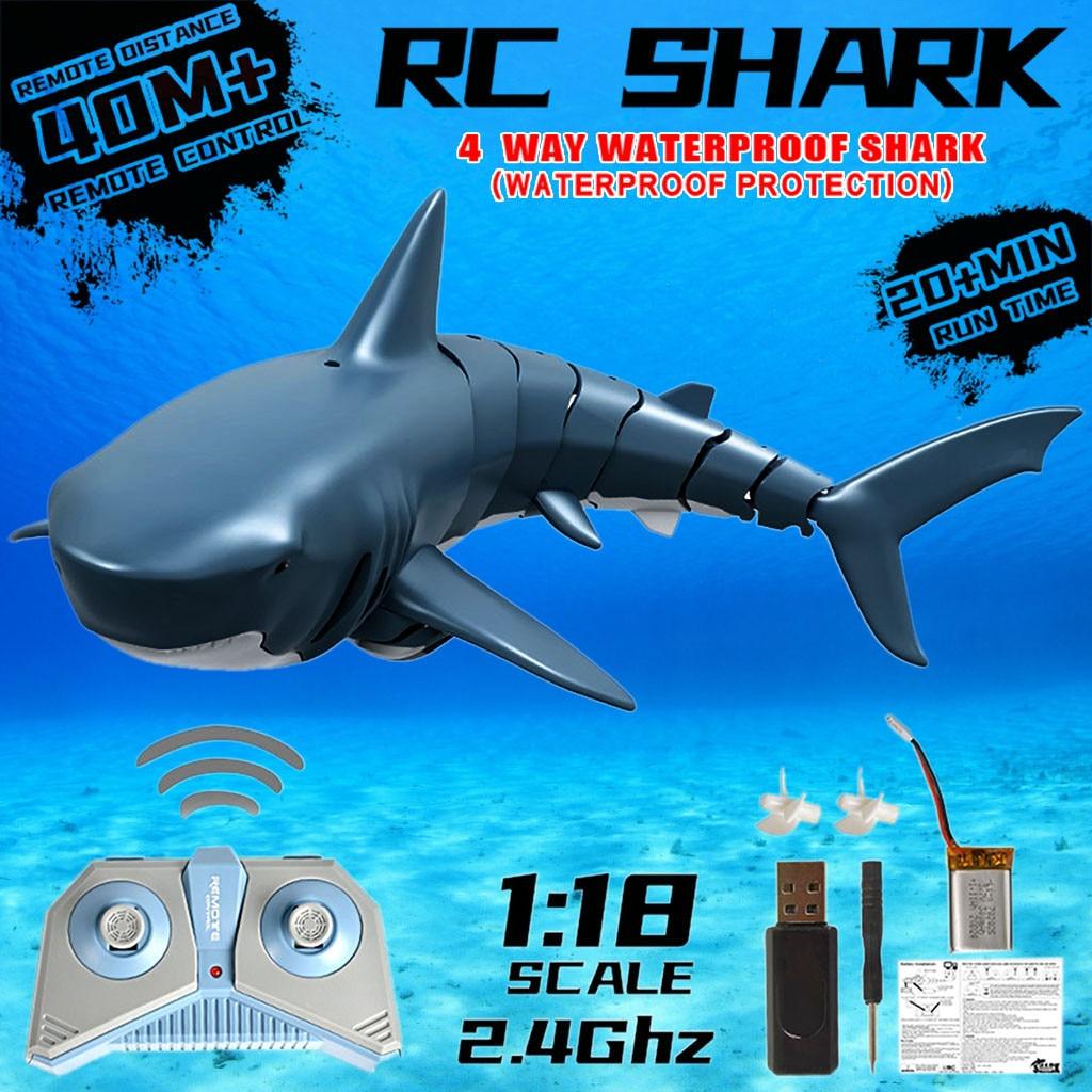 Barco de pesca de tiburón electrónico con Control remoto por Radio, juguete sumergible duradero de 4 canales