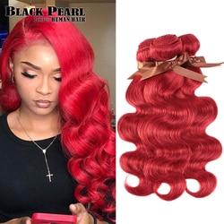 Tissage en lot Body Wave 100% naturel brésilien Remy rouge-Black Pearl, 8 à 28 pouces, extensions capillaires