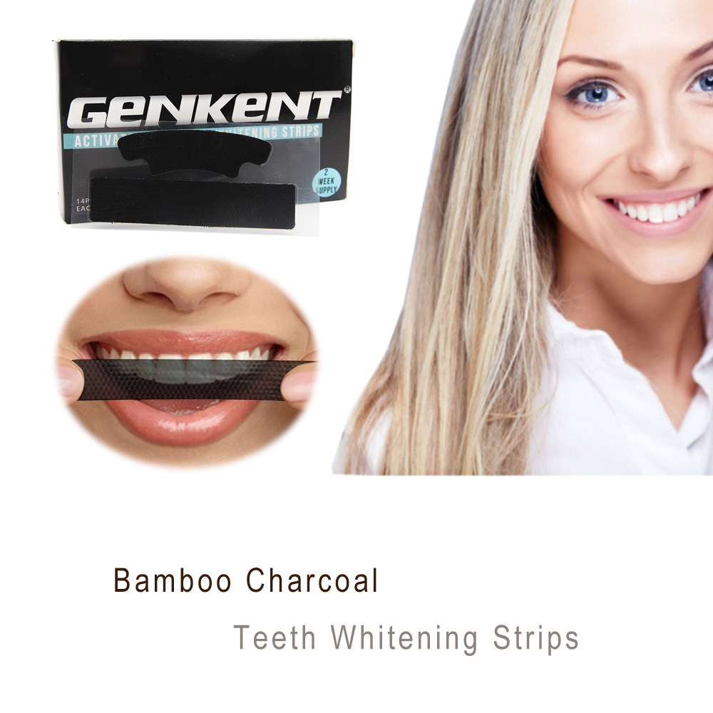 Genkent Black Teeth Whitening Strips Activated Charcoal Professional Effects Plus Whitestrips Tooth Whitening Tool