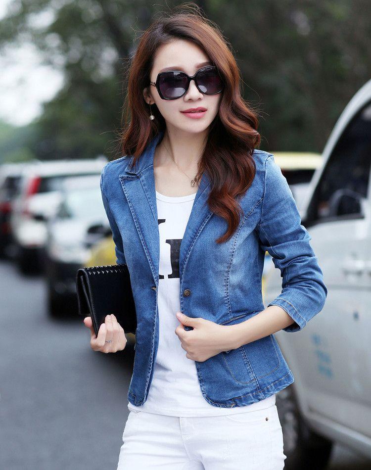 Womens Coat Formal Blazer Jean Jacket Slim Fit Denim Two Buttons Tops New Plus