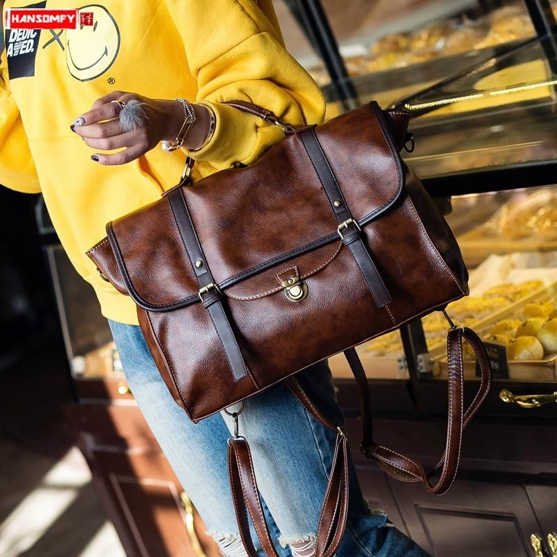 Retro Leather Women's Handbag Business Briefcase Female 14 Inch Laptop Bag Shoulder Crossbody Bag College Back Pack Casual Bags