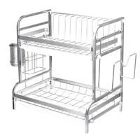 2 camadas de aço inoxidável suporte de talheres prateleira rack prato cozinha multifuncional rack armazenamento rack rack armazenamento rack armazenamento rack titular faca|Racks e suportes| |  -