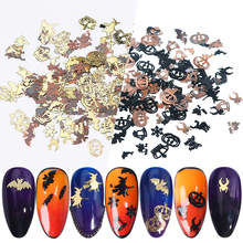 1Box Mix Halloween Black Witch Sequins For Nail Spider Metal Flake Pumpkin Face Alloy Paillettes DIY Nail Gem Accessories BE1034 rhinestone faux gem halloween spider brooch
