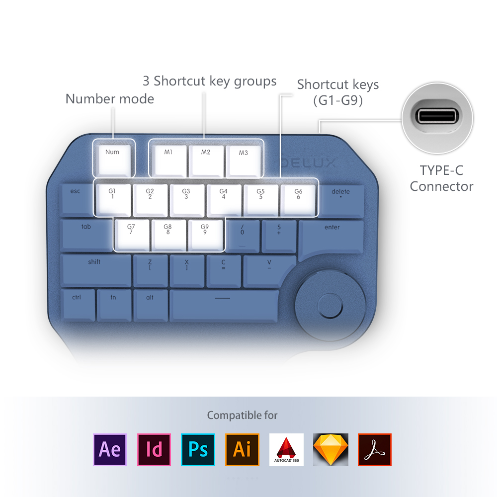 Image 4 - Delux T11 Designer Keyboard with Smart Dial 3 Group Customizable Keys Keypad Compatibility for Wacom Windows Mac Design Softwar-in Keyboards from Computer & Office