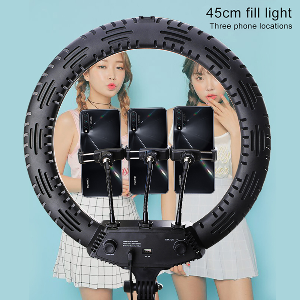 MAMEN 18 inch Dimmable Selfie Ring Light 45cm LED Photography Lighting For Youtube Video Studio Live Photo DSLR With Tripod