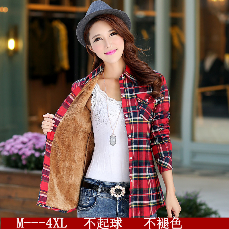Long Sleeve Plaid  Flannel Shirt Women Plus Size Autumn Winter Warm Thick Plus Velvet Cotton Blouse Women's Oversize Blusas Tops