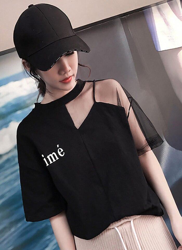 Женская футболка с буквенным принтом, с сеткой, с коротким рукавом, Лоскутная, полиэфирная, топы, Корейская одежда, летняя футболка для женщин 2020|Футболки|   | АлиЭкспресс