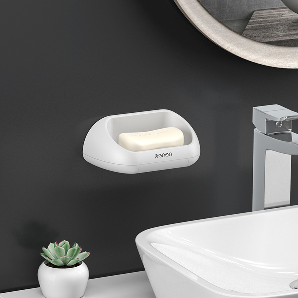 Soap Box Punch-free Strong Adhesive Soap Dishs Bathroom Drain Soap Holder Tray Accessories Soap Dishes Self Adhesive
